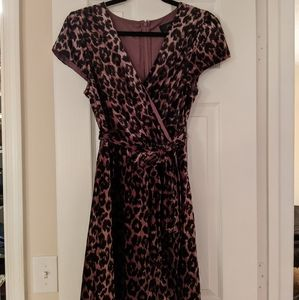 Rose leopard velvet faux-wrap dress (never worn!)